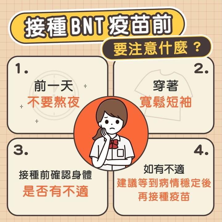 接種BNT疫苗前注意事項