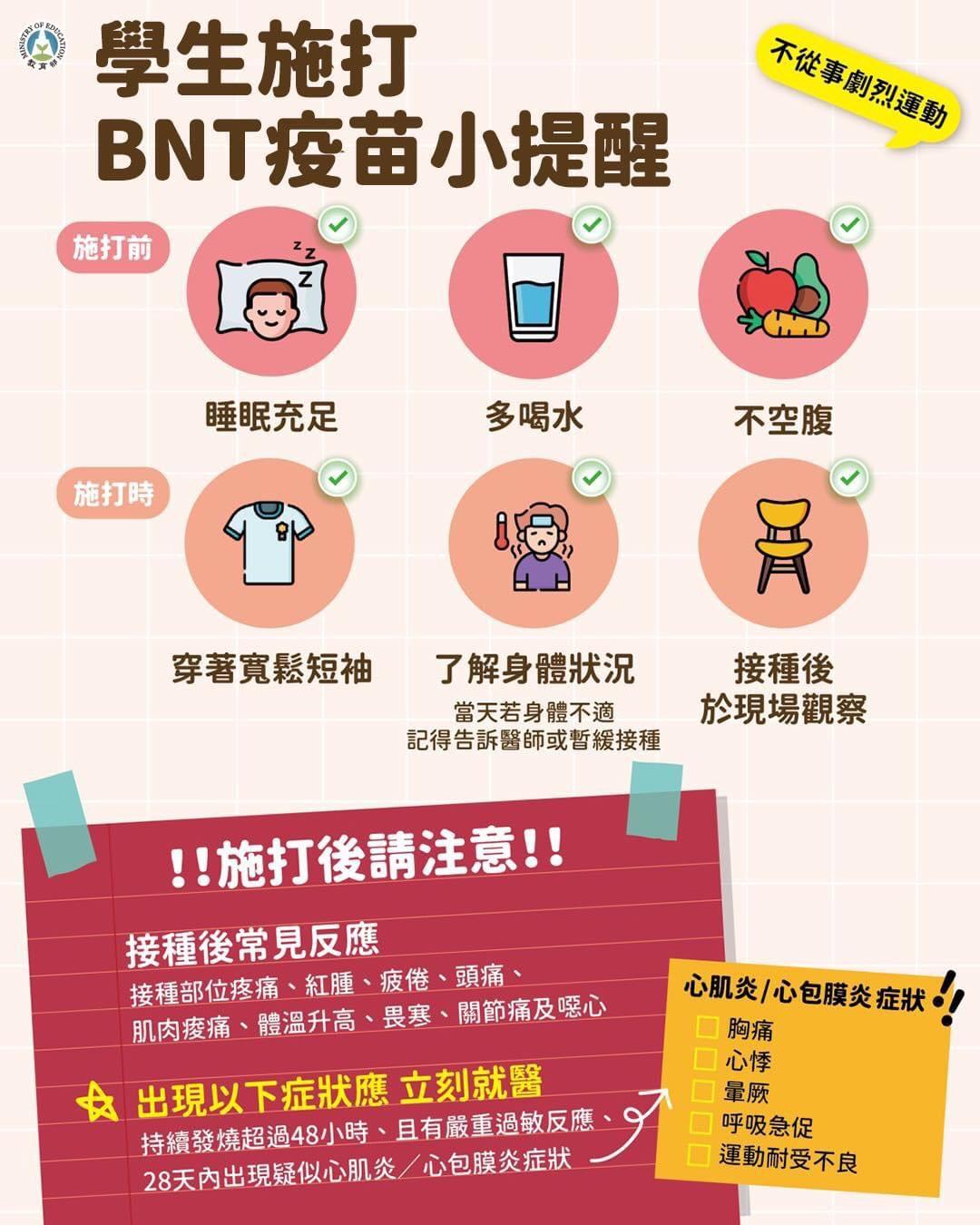 學生施打BNT疫苗小提醒